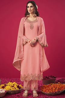Picture of Ideal Peach Colored Party wear Georgette Suit (Unstitched suit)