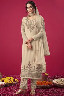 Picture of Contrast Cream Colored Party wear Georgette Suit (Unstitched suit)