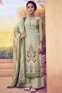 Picture of Captivating Olive Colored Muslin Suit (Unstitched suit)
