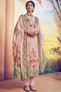 Picture of Mature Pink Colored Designer Suit With Digital Print (Unstitched suit)