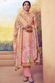 Picture of Ravishing Pink Colored Printed Muslin Suit (Unstitched suit)