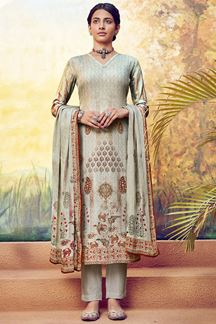 Picture of Ethnic Grey Colored Muslin Designer Suit (Unstitched suit)