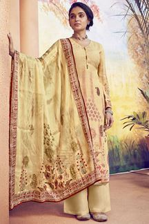 Picture of Refreshing Yellow Colored Muslin Printed Suit (Unstitched suit)