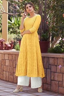 Picture of Engrossing Yellow  Colored Georgette Lucknowi Kurti