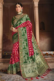 Picture of Exclusive Pink & Green Colored Dola Silk Saree
