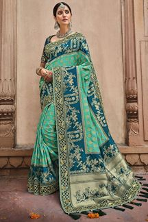 Picture of Refreshing Rama & Blue Colored Dola Silk Saree