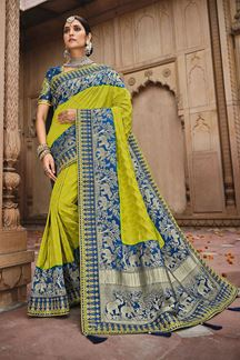 Picture of Gorgeous Parrot Green & Blue Colored Dola Silk Saree