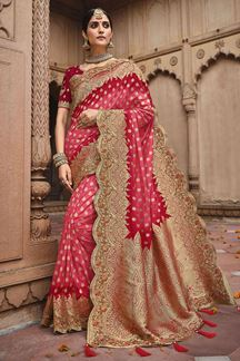Picture of Beautiful Pink Colored Dola Silk Saree