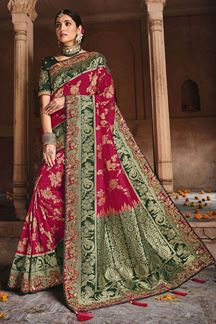Picture of Classic Pink & Green Colored Dola Silk Saree