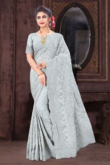 Picture of Inequities  Grey Colored Designer Saree
