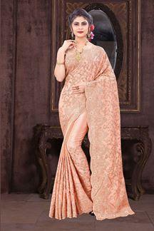 Picture of Sparkling Peach Colored Designer Saree