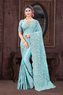 Picture of Sizzling Sky Blue Colored Designer Saree
