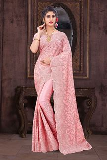Picture of Glowing Light Pink Colored Designer Saree