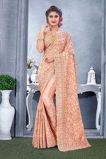 Picture of Glowing Peach Colored Designer Saree