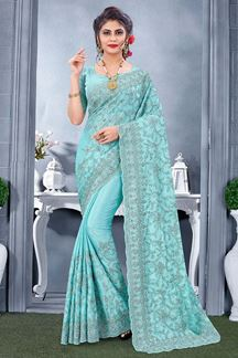 Picture of Glowing Sky Blue Colored Designer Saree