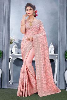 Picture of Light Pink Colored Designer Saree