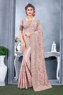 Picture of Dusty Pink Colored Designer Saree