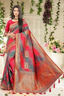 Picture of Blue & Pink  Weaving Silk Classic Wedding Saree