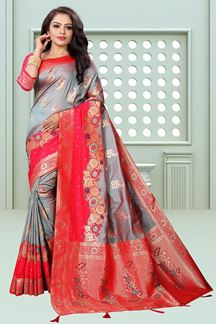 Picture of Grey Weaving Ceremonial Designer Traditional Saree