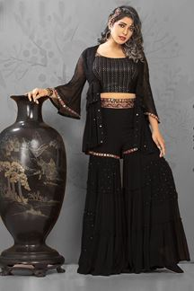 Picture of Black Colored Crop Top Style Palazzo Suit