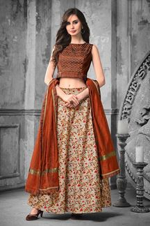Picture of Amazing Brown Colored Designer Skirt & Crop Top