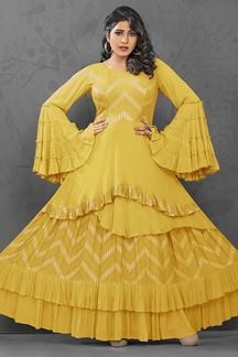 Picture of Glamorous Yellow Colored Georgette Designer Kurti