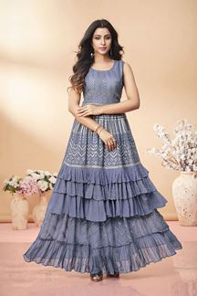 Picture of Partywear Grey Colored Georgette Kurti