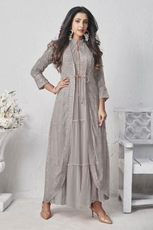 Picture of Light Grey Colored Georgette Kurti With Jacket