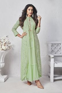 Picture of Pista Green Colored Georgette Kurti With Jacket