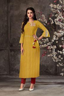 Picture of Partwear Mustard Colored Designer Kurti In Cotton