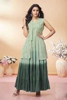 Picture of Green Colored Shaded Jacket Style Kurti