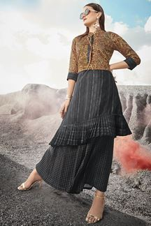 Picture of Sunshine With Grey Colored Cotton Silk Kurti Set