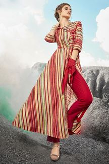 Picture of Cotton Rayon Red Colored Designer Kurti
