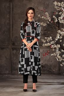 Picture of Printed Black Color Georgette Party Wear Kurti