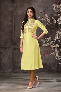 Picture of Trendy Yellow Colored Silk Straight Cut Kurti