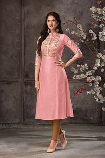 Picture of Blooming Pink Colored Silk Straight Cut Kurti