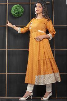 Picture of Orange Colored Designer Cotton Partwear Kurti