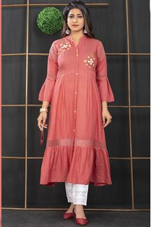 Picture of Rayon Cotton Pink Colored Designer Kurti
