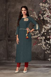 Picture of Partwear Grey Colored Designer Kurti In Cotton