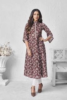 Picture of Partwear Brown Colored Designer Kurti In Cotton