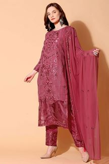 Picture of Charming Coral Colored Designer Suit (Unstitched suit)