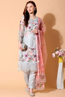 Picture of Blooming Grey Colored Designer Suit (Unstitched suit)