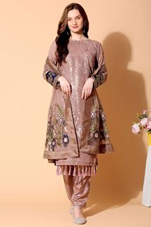 Picture of Flattering Brown Colored Designer Suit (Unstitched suit)