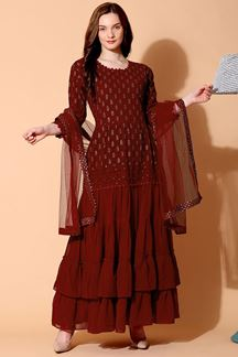 Picture of Outstanding Maroon Colored Designer Suit (Unstitched suit)