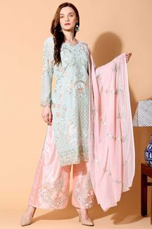 Picture of Graceful Grey & Pink Colored Designer Suit (Unstitched suit)