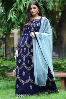 Picture of Stunning Navy Blue Colored Georgette Anarkali Suit (Unstitched suit)