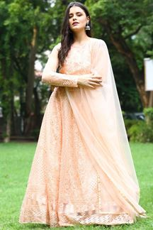 Picture of Beautiful Peach Colored Net Anarkali Suit (Unstitched suit)