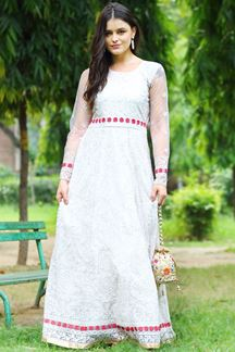 Picture of Elegant Cream Colored Net Anarkali Suit (Unstitched suit)