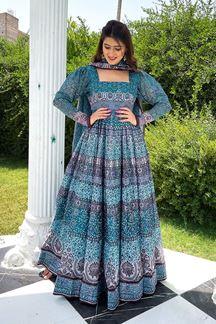 Picture of Partywear Designer Sky Blue Colored Chanderi Silk Suit