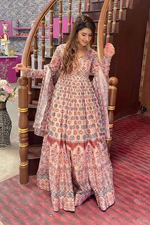 Picture of Partywear Designer Peach Colored Chanderi Silk Suit
